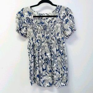 At Last Floral Paisley Top Shirred